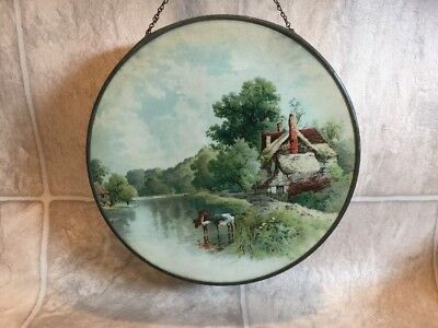 """Vtg 9 1/2 """" Round Chimney Stove Flue Cover Cows By Home Made In Germany?"""
