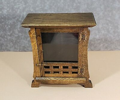 Antique Mission Mantle Clock Case Oak Los Alamos New Haven Clock Co 8 day Arts &