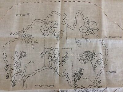 Vintage dressing table/doily set ready to embroider, Map of Australia and plants