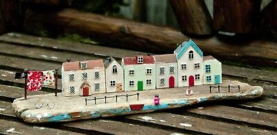 Handmade Driftwood Harbour-Front Cottages Ornament Display