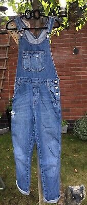 Topshop Distressed Dungarees Blue Denim Size 10 moto