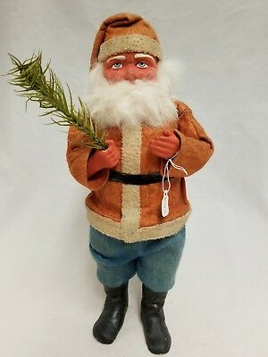 """Vintage 1920's Santa Woodcutter Paper Mache Candy Container 11"""""""