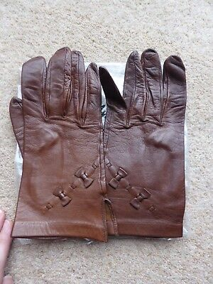Brown Leather Gloves - Made in Portugal by Carcavelos - Probably Size 7.5