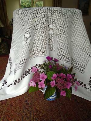 Exceptional Antique Drawn & Woven Lace Tablecloth ~ Breathtakingly Beautiful