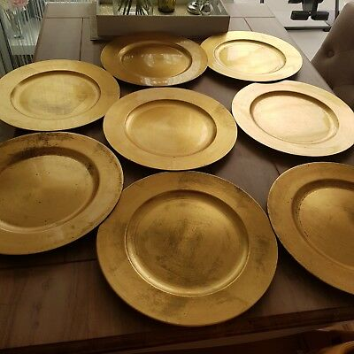 8 Gold Charger Plates Large