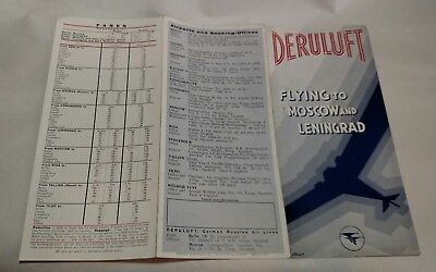 Derulft German Russian Airlines Timetable 1934