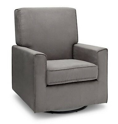 Glider Rocker Chair Upholstered Gray Nursing Nursery Furniture Rocking Seat