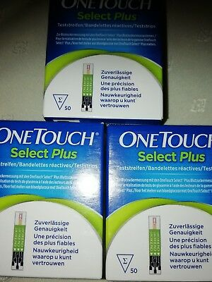 150 Blutzucker Teststreifen ONE TOUCH Select Plus NEU 3 Pk.