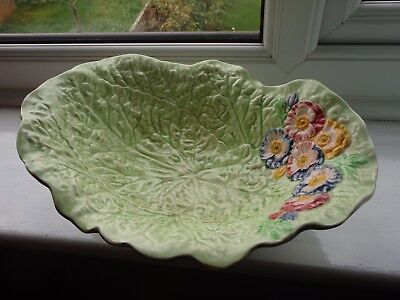 Lovely bold and colourful cabbage leaf Melba ware bowl