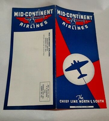 Mid-Continent Airlines Timetable 1939