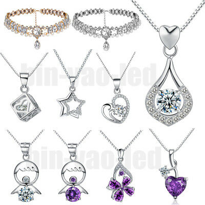 Fashion Women 925 Silver Plated Charming Necklace Jewelry Crystal Pendant Chain