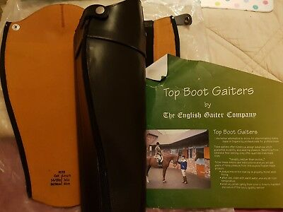 """English Gaiter Company Leather Gaiters, Size Length 16""""' Calf 14""""/15"""", Black New"""