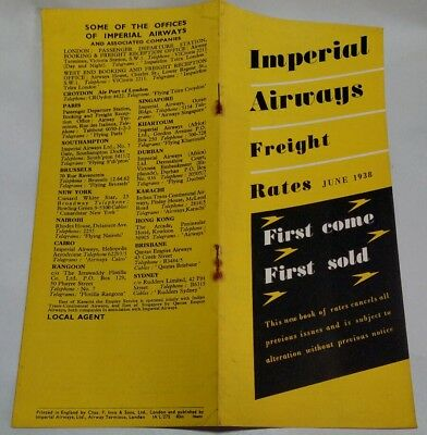 Imperial Airways Freight Timetable 1938