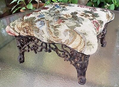 Vintage Cast iron Footstool floral upholstery Victorian style ornate 11.5 square