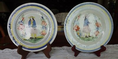 ANTIQUE PAIR OF VERY OLD FRENCH BRITTANY PLATES SIGNED P.Bx, EARLY 1900's