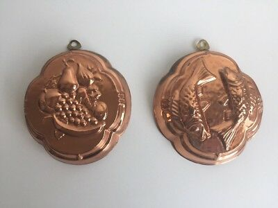 Pair Of Vintage Copper Jelly Mould Old Surface Patina Fish & Fruit Small
