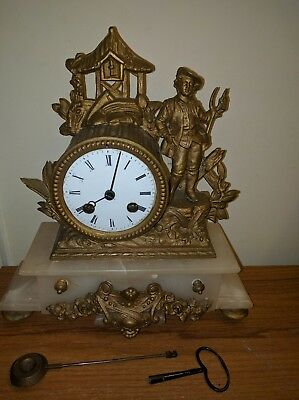 french Antique alabaster and spelter mantle Clock