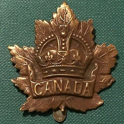 WW1 Canadian Division Canada Corps SLIDER Cap Badge General Overseas Service CEF