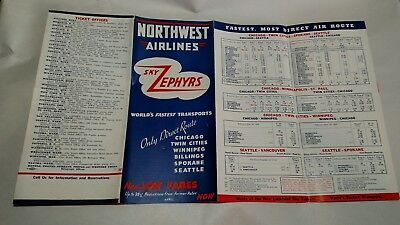 Northwest Airlines Sky Zephyrs Timetable 1938