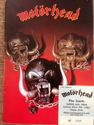 Motorhead Iron Fist Tour Programme 1982 & Ticket Stub Leeds Queens Hall