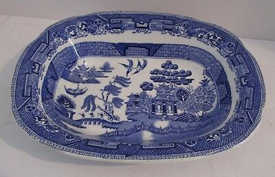 """RIDGWAYS Willow Blue 8"""" Oval Vegetable Bowl"""