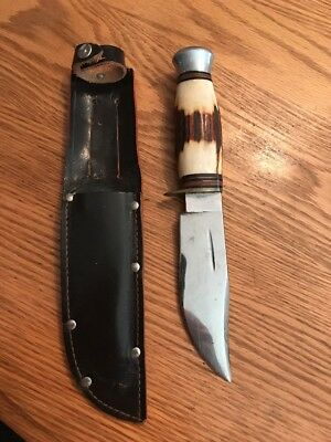 """Vintage William Rogers """"I Cut My Way"""" Stag Bowie Survival Hunting Knife W/Sheath"""