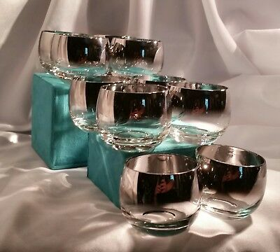 Set 10 Vintage Dorothy Thorpe Style Silver Fade Roly Poly Low Ball Glasses  EUC