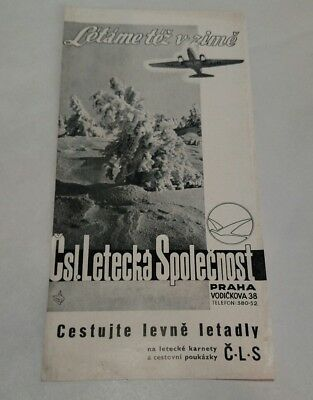 CLS Czechoslovakia Airlines Timetable 1938