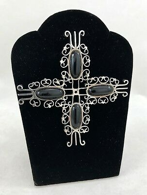 Vintage Taxco Sterling Silver Cross with Onyx Pin or Brooch Signed Cecilia