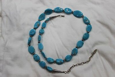 """Vintage RUNNING BEAR Oval Turquoise 925 Sterling Necklace 26"""" Adj Excellent Cond"""