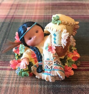 """1995 Enesco Friends of the Feather """"Leaf Dancer"""" Indian Boy In Pile Of Leaves"""