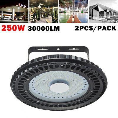 2x 250W UFO LED High Bay Lamp Warehouse Industrial Factory Shed Lighting US