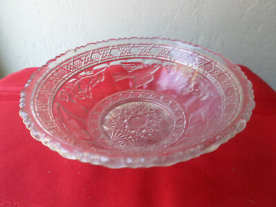 Antique Vintage Mold-Pressed Glass Candy Bowl-Birds & Strawberries-