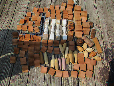Massive lot of small wooden corbels, brackets, blocks, shapes, and spindles