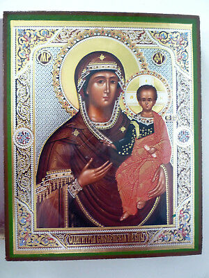 """Icon MADONNA AND CHILD, Greek, Byzantine, Wood, Mary, Jesus, gold sheen, 6"""" tall"""