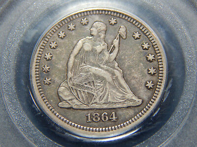 1864 25C Seated Liberty Quarter XF-40 PCGS, Tough Civil War Date!