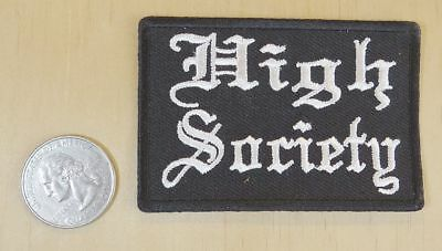 "High Society Iron-On Sew-On Embroidered Patch  3 "" X 2 """