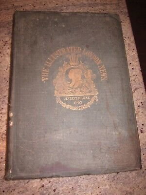 antique 1863 The Illustrated London News bound hardcover