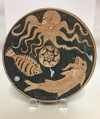 Ancient Greek Campanian Red-Figure Footed Fish Plate 350 B.C. Glazed Pottery