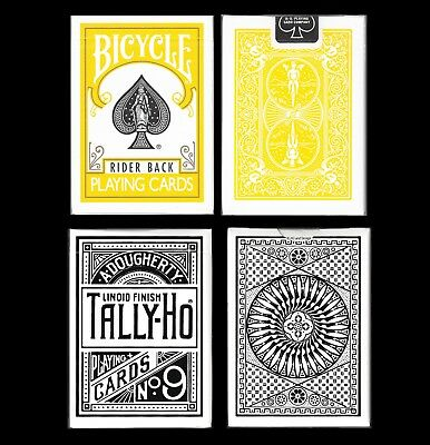 Tally-Ho Deluxe White Circle Back + Yellow Bicycle 808 Rider Back Playing Cards