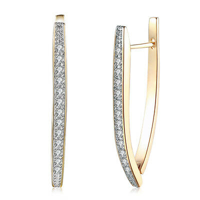 Personality Geometric Hoop Earrings Champagne Gold Plated CZ Ear Clip For Women