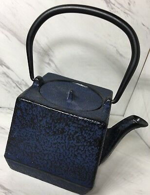 Japanese Iron Teapot In Pebbled Blue RARE
