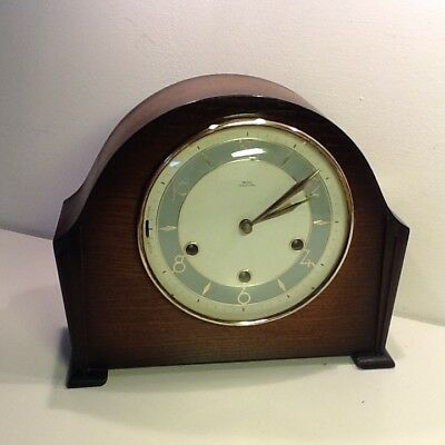 Vintage Smiths Tempora Art Deco Oak Cased Mantel Clock,Pale Grey Chapter Ring