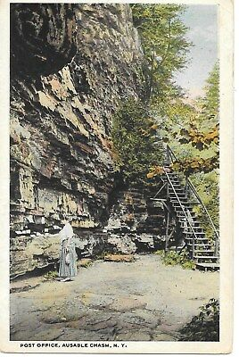 AUSABLE CHASM  1920's w/b view, POEN AIR POSTOFFICE, WOMAN SORTING MAIL