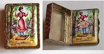 ANTIQUE French NUDE Pleasures Naked Lady Enamelled Painted Box Risque (Silver?)