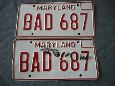 Look Set of 1980's Maryland Car License Plate # BAD 687 Man Cave Free Shipping