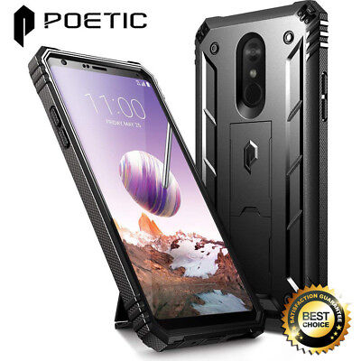 For LG Stylo 4 Rugged Case Poetic Revolution Cover [With Tempered Glass] Black