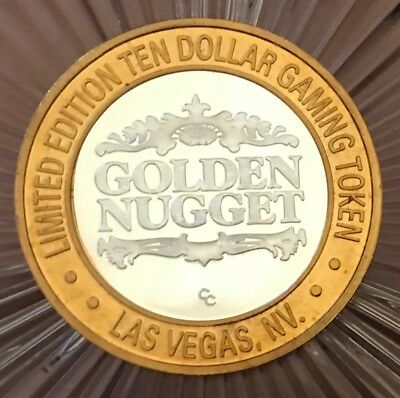 Limited Edition Ten Dollar Gaming Token -Golden Nugget - 999 Fine Silver