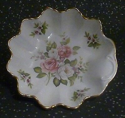 James Kent Old Foley Harmony Rose Staffordshire Dish floral gold trim England