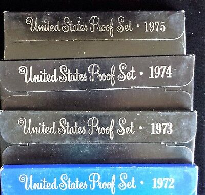 4 Years MINT PROOF Sets- 1972 - 1975 in Clear Plastic Display Boxes